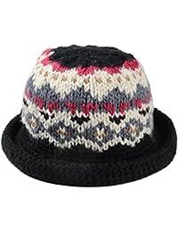 Women Vintage Style Hat Winter Vintage Pattern Handmade Warm Knitted Hat  Brim Foldable Bucket Hat 644bd4cc0de1