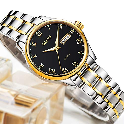 Day and Date Watch for Women,Stainless Steel Ladies Watches Roman Numeral Wristwatch,Lady Dress Analog Quartz Watch,Luminous Wrist Watch with Black Dial,Business Watches for - Ladies Wristwatches