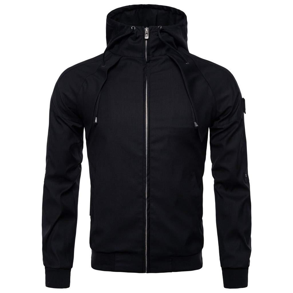 Simayixx Men's Jacket Men's Mountain Waterproof Ski Coats Windproof Rain Hoodie Sweatshirts Workout Zipper Tops Shirts 2XL Black by Simayixx (Image #2)