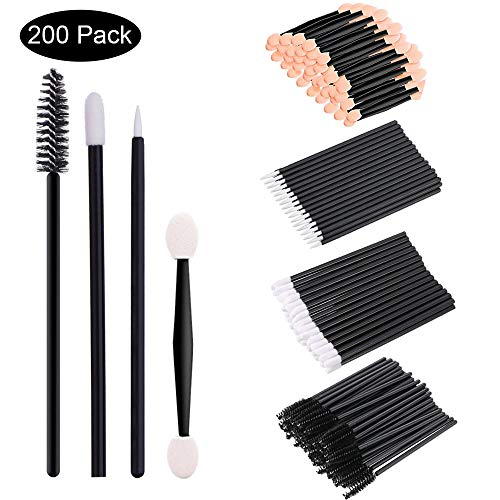 Bearals Disposable Makeup Applicators, Disposable Makeup Wands, Mascara Wands, Eyeliner Brushes, Lipstick Applicators, Eyeshadow Brushes, 200 Pcs Makeup Tool Kits ()