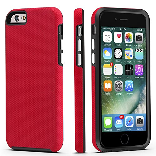 iPhone 6 / 6s Case, CellEver Dual Guard Protective Shock-Absorbing Scratch-Resistant Rugged Drop Protection Cover for Apple iPhone 6 / 6S (Red)