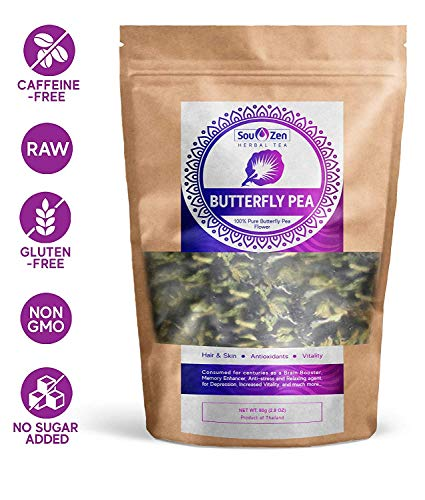 Sou Zen Butterfly Pea Flowers (80 g) Dried Tea Leaves | Natural, Raw Drink Mix w/ Antioxidants, Organic Nootropics | Promotes Relaxing Calm, Stress Relief | Thai - Drink Flower