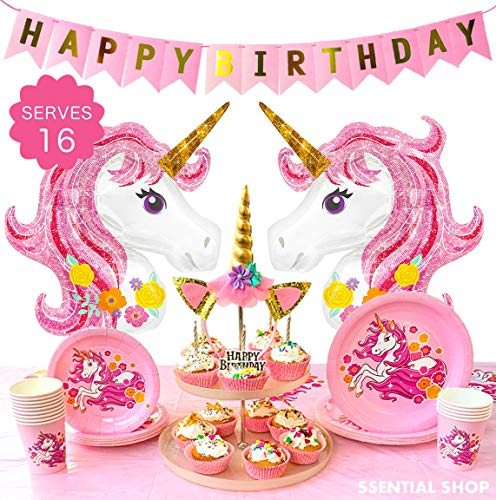 Unicorn Party Supplies & Birthday Decorations for Girls | Pink Unicorn Theme Plate Set, Cups, Tablecloth, Happy Birthday Banner, Unicorn Headband and Unicorn Foil Balloons -Serves 16
