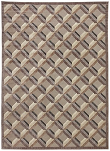 Rivet Motion Grid Pop Rug, 7'9'' x 10'10'', Stone by Rivet