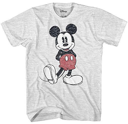 Disney Men's Full Size Mickey Mouse Distressed Look T-Shirt (Medium, Ash Heather) (Distressed Mens T-shirt)