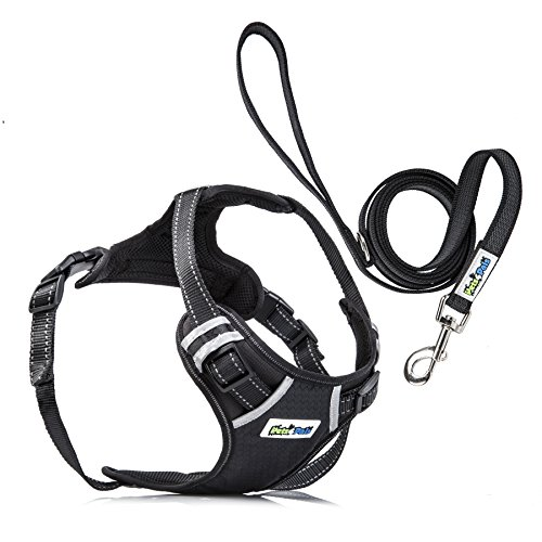 pets4pals Adjustable No Pull Reflective Harness with Handle, D-Ring and Leash For Small Medium and Large Sized Dog