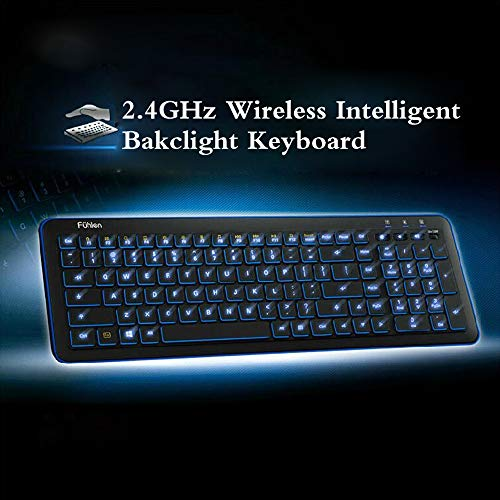Pesp Ultra-thin Intelligent Smart Adjustable Blue LED Backlight Multimedia Wireless Gaming Keyboard with USB Receiver for PC Laptop