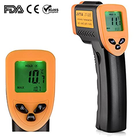 Non-contact infrared thermometer- JVTIA Classic digital laser temperature gun -58℉~716℉ (-50℃~380℃), yellow and Black Yellow and White with LCD backlit with accurate - Infared Thermometer