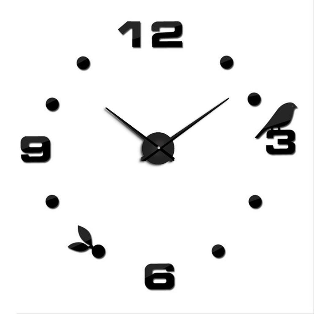 ホーム&時計 モダンミュートDIYラージウォールクロック3Dステッカーホームオフィスデコレーションブラックギフト ( 色 : ブラック , サイズ さいず : 50-80cm ) B07BK5WG1M 50-80cm|ブラック ブラック 50-80cm