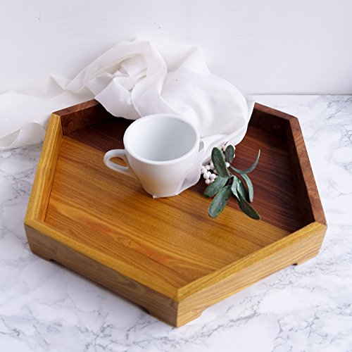 rving Tray Geometric Hexagon Ottoman Coffee Table Tray Round Wood Food Fruit Platter Shabby chic Creative Tableware Honeycomb Drink Holder Modern Breakfast Stand ()