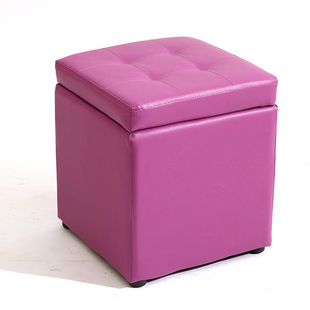 Purple 30x30x35cm(12x12x14) Multi-Function Storage Stool, Square Solid color pu Storage Bench with flip Cover upholstered Storage -Black 30x30x35cm(12x12x14)