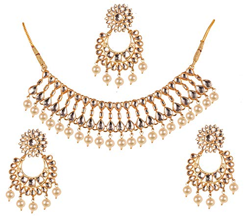 Touchstone New Contemporary Kundan Collection Splendid Indian Bollywood Desire Mughal Kundan Look Triple Line Faux Pearls Beads Bridal Jewelry Necklace Set in Gold Tone for Women (Faux Gold Tone Jewelry Set)