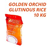 Golden Orchid Thai Glutinous Rice | Grown in Thailand | Perfect Sticky Rice | Can be Used for Sweet or Savoury Dishes | Superior Quality | Gluten Free (GF) | 10 Kg Bag