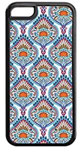 01-Ornate Paisley Case for the APPLE IPHONE 5c ONLY-Hard Black Plastic Outer Case with Tough Black Rubber Lining