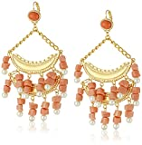 Kenneth Jay Lane 2 Tier Light Coral and Pearl Wire Top Drop Earrings
