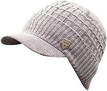 Invierno Hombre Gorro de Punto Tejer de Lana Beanie Sombrero de Gorras con Viseras (Gris): Amazon.es: Ropa y accesorios