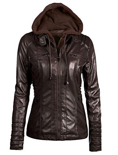 Caffè Giacchetto Zip Giacca Mallimoda Giacche Ragazza In Pelle Hooded Slim Corto Donna Jacket OZaxqO7