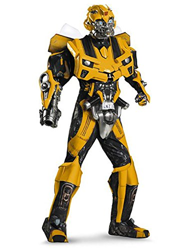 Disguise Men's Hasbro Transformers Age Of Extinction Movie Bumblebee Theatrical with Vacuform Plus 3D Costume, Black/yellow, X-Large/42-46]()