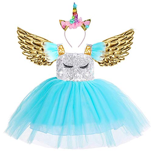 Beauta Unicorn Costume Cosplay Princess Dress up Birthday Pageant Party Dance Outfits Evening Gowns  (4-5 Years(Tag 120), Blue)