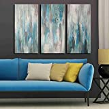 Image of Hand-painted 'Sea of Clarity' 3-piece Gallery-wrapped Canvas Art Set