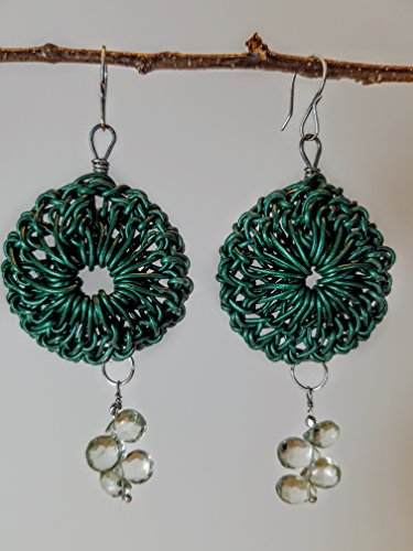 Deep Sea Green Leather Rosette Earrings on Titanium Hoops with Faceted Prasiolite Briolettes & Sterling on Sterling Silver Earwires - 100% Handmade