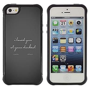 All-Round híbrido Heavy Duty de goma duro caso cubierta protectora Accesorio Generación-II BY RAYDREAMMM - Apple iPhone 5 / 5S - Love Darkest Grey Text Couple Valentines Tragic