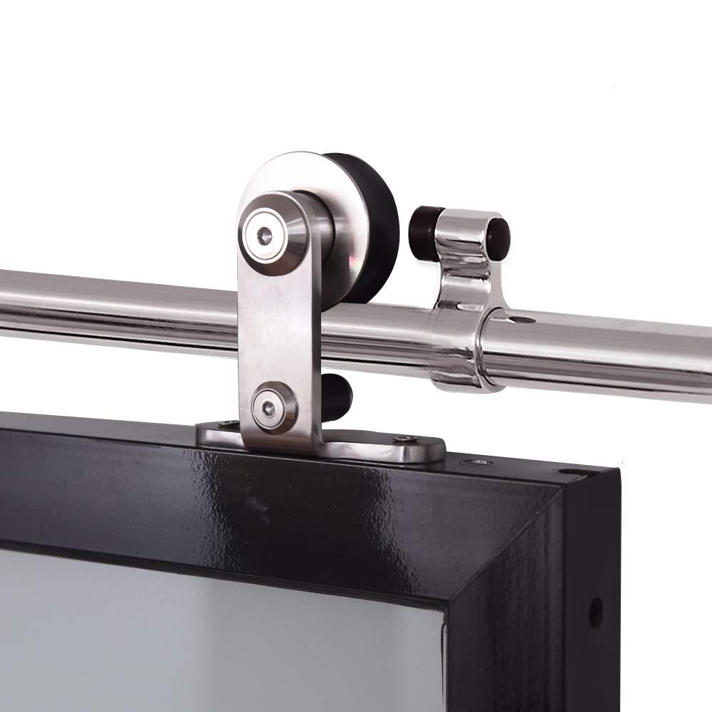 CCJH 10.5ft Heavy Duty Sturdy Stainless Sliding Barn Door Hardware Kit for Double Wood T Shape Hanger