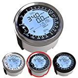 ATACH 85MM DIGITAL GPS SPEEDOMETER, TACHOMETER AND MULTIMETER, 6 IN 1 FUNCTIONS (BLACK AND SILVER BEZEL)