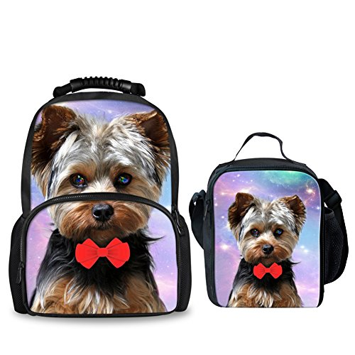 Coloranimal Cute Galaxy Yorkshire Terrier Printing Backpack with Insulated -