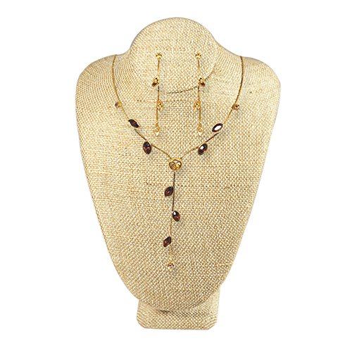 Ikee Design Wooden Lined Covered Jewelry Necklace Display - Design Weave Necklace