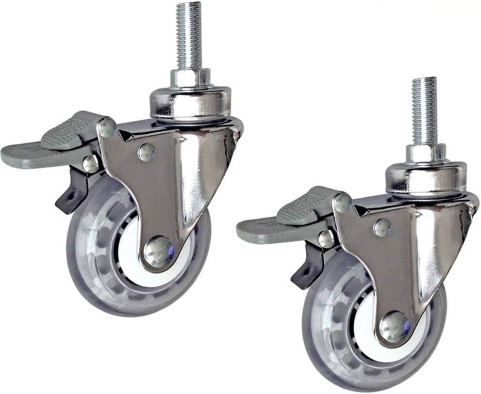 Rueda giratoria 3 pulgadas médicos Ruedas/ruedas elásticas de alta del hospital tornillo de la rueda de la PU Silencio M12x30 Plataforma Accesorios de coches (Color : With brake)