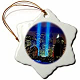 3dRose orn_61470_1 Beautiful Photograph of The Twin Towers 911 Memorial Lights Never Forget-Snowflake Ornament, Porcelain, 3-Inch