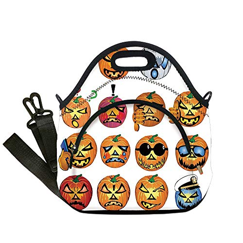 Insulated Lunch Bag,Neoprene Lunch Tote Bags,Halloween Decorations,Carved Pumpkin with Emoji Faces Halloween Humor Hipster Monsters Art,Orange,for Adults and children