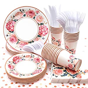 Vintage Floral Party Supplies, (Serves 24) Disposable Paper Plates, Napkins, Cups, Knives, Spoons, Forks, Tablecloth…