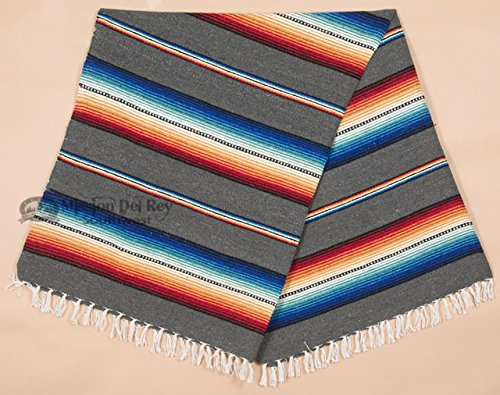"Rio Bravo Blanket -Old El Paso Mexican Serape Style Falsa Blanket -Southwestern Throw Blanket for Rustic Cabin, Lodge, Western Decor, Yoga, Travel, Sports or Wrap, 56""x74"" (Grey)"