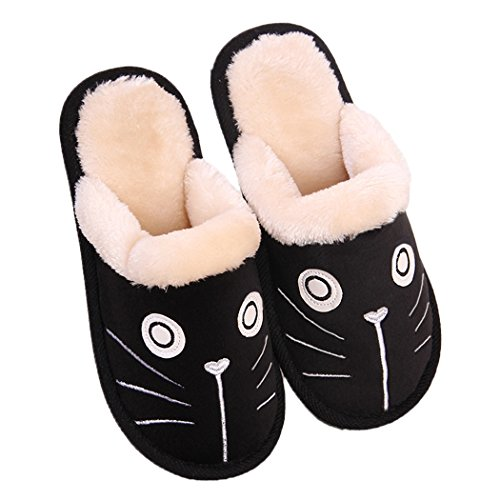 MiYang Winter Cute Cat and Dog Warm House Slippers Booties Black Pbb2ge6oak