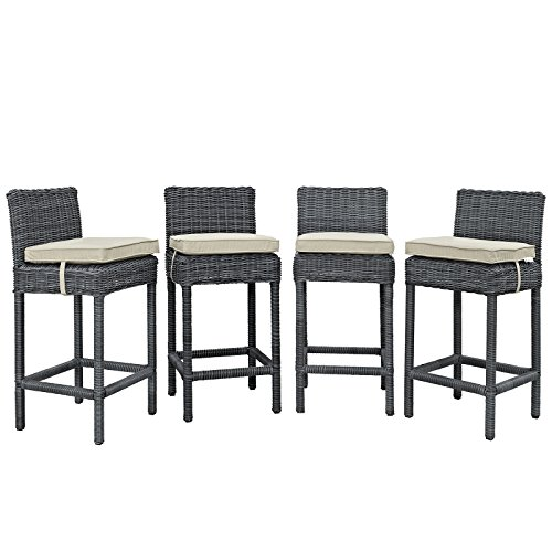 Modway EEI-2198-GRY-BEI-SET Summon Wicker Rattan Outdoor Patio Bar Stools with Sunbrella Fabric Cushions, Four, Antique Beige