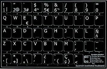 Hebreo pegatinas de teclado con letras blancas fondo transparente por 4 Teclado: Amazon.es: Electrónica