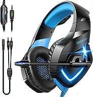 Fone de ouvido para jogos ONIKUMA – Fone de ouvido para jogos sobre a orelha com microfone, cancelamento de ru