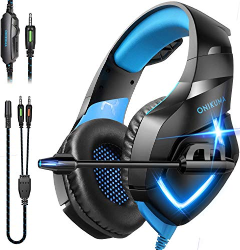 ONIKUMA Gaming Headset Over Ear Gaming Headphone with Microphone,Noise Canceling Stereo Sound Noise,Soft Memory Ear Cup for PC,PS4,PS5,Nintendo 64,Xbox One,Laptops(Adapter Not Included)