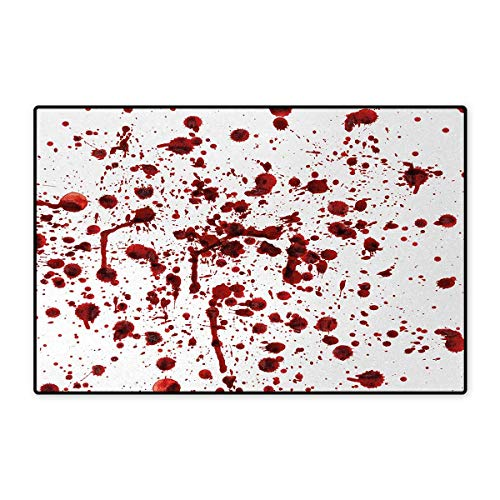 Horror,Bath Mat,Splashes of Blood Grunge Style Bloodstain Horror Scary Zombie Halloween Themed Print,Door Mats for Home,Red White 16