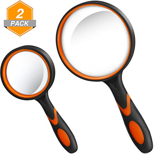 Gejoy 2 Pieces Magnifying Glass Handheld Reading Magnifier 100 mm 3X Large Magnifying Lens 50 mm 10X Small Magnifying Lens with Non-Slip Soft Rubber Handle for Reading, Hobbies, Repair, Observation by Gejoy
