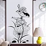 YUMULINN wallpaper stickers Wallpapers murals Creative Hand-painted Chinese Ink Lotus Ornaments Wall Stickers Fashion Study Parlor Entrance Corridor Stairs Arrangement Aesthetic Wall Stickers