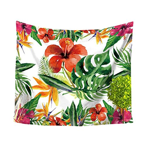 Tropical Flowers Green Leaf Tapestry, Fashion design, Unpara Wall Furniture Bedspreads Shower Curtains for Home Decor (B) ()