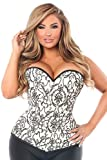 Daisy corsets Women's Top Drawer Elegant Embroidered Steel Boned Corset, Ivory, 2X