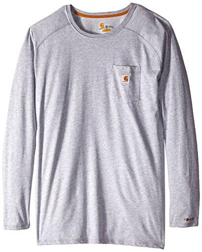 Carhartt Men's Big Big & Tall Force Cotton Long-Sleeve T-Shirt, Heather Gray, 3X-Large/Tall ()