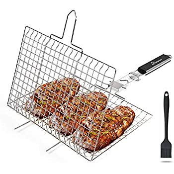 WolfWise Portable Grilling Basket 430 Stainless Steel BBQ Barbecue Tool Work for Fish Vegetable Steak Meat Shrimp Chops with an Additional Basting Brush