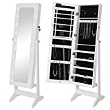 Best Choice Products LED Lighted Mirrored Jewelry Cabinet Armoire W/Stand- White