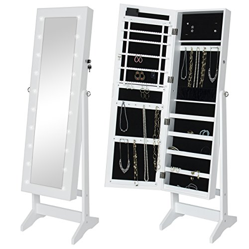 - Best Choice Products LED Lighted Mirrored Home Decor Cabinet Armoire W/Stand- White