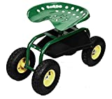 New Rolling Garden Cart Work Seat With Heavy Duty Tool Tray Gardening Planting Green